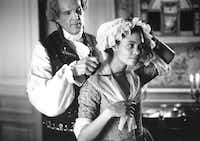 Nick Nolte as Thomas Jefferson and Thandie Newton as Sally Hemings in the 1995 film Jefferson in Paris.