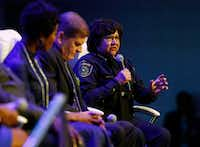 "<p>Dallas County Sheriff <a name=""firsthit"" id=""firsthit"" style=""""></a>Lupe Valdez during the Blue on the Block community meeting at The Potter's House in Dallas on Sept. 16.</p>(Nathan Hunsinger/Staff Photographer)"