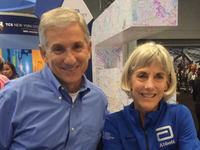 Dallas ISD board president Dan Micciche with American long-distance running legend Joan Benoit Samuelson. The winner of the first Olympic women's marathon during the 1984 Summer Olympics in Los Angeles, Samuelson held the American women's marathon record for more than 20 years.(Dan Micciche)