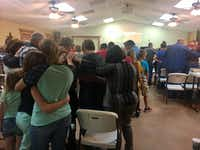 Congregants at the Cowboy Fellowship of Wilson County consoled those who knew victims who died in the shooting at First Baptist Church.(Naomi Martin/Staff)