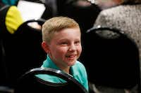 Eleven-year-old Blake Leonard of Argyle waits to be recognized by Flower Mound Police Chief Andy Kancel on Nov. 06, 2017.(Michael Ainsworth/Special Contributor)
