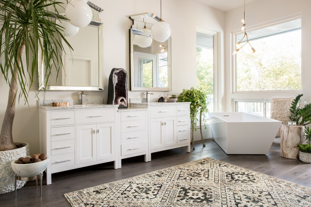 A Bright White Space And Fixtures Are Punctuated By A Graphic Rug And  Oversize Geode In This Bathroom From The Team At Scout Design Studio.