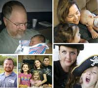 "Some of the members of the Holcombe family killed in the shooting at First Baptist church in Sutherland Springs, Texas. Shown are, clockwise from top left: Bryan Holcombe; his wife, Karla; their daughter Crystal Holcombe, who was pregnant. Crystal's three children: Megan, Emily and Greg (pictured with a fourth child); and Bryan's son, Marc Daniel ""Danny"" Holcombe."