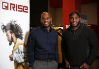 Tim Maiden (left) and Terrence Maiden stand in front of their RISE clothing store at the Duncanville Fieldhouse.(Rose Baca/Staff Photographer)
