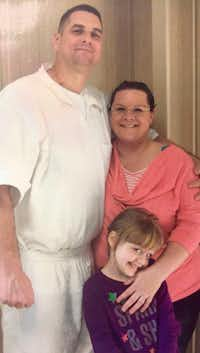 George Powell is shown with his girlfriend, Tamara Parsons, and her daughter, Ciara. George Powell is 6-3 — much bigger, he says, than the man who robbed a 7-Eleven and other convenience stores in Killeen in 2008. (Tamara Parsons)