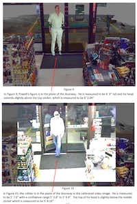 Grant Fredericks conducted measurements of George Powell at the request of the Texas Forensic Science Commission. Above is an excerpt from his report in which an image of Powell (top) is shown superimposed into video footage of a convenience store to demonstrate the height difference between him, and the man (below) who robbed the store. (Texas Forensic Science Commission)