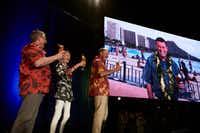 Southwest Airlines CEO Gary Kelly celebrates the announcement of service to Hawaii with other company executives during an Oct. 11, 2017 event.(Courtesy/Southwest Airlines)