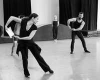 Joy Atkins Bollinger (left) rehearses the Bruce Wood Dance company, including Olivia Rehrman (center) and Gabriel Speille&nbsp; for the premiere of her new work&nbsp; <i>Hillside</i>.(Sharen Bradford)