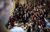 Rep. Steve Scalise, R-La., is met by a crowd of visitors as he returns to the U.S. Capitol for his first day back in Washington, Sept. 28, 2017. Scalise was shot during a congressional baseball practice on June 14. (AL DRAGO/The New York Times)