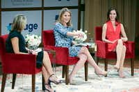 Jenna Bush Hager (center) and sister Barbara Bush (right) speak at the <i>Sisters First: Stories from Our Wild and Wonderful Life</i> event promoting their book at George W. Bush Presidential Center in Dallas on Nov. 5.(Allison Slomowitz/Special Contributor)