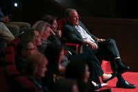 Former President George W. Bush and Laura Bush sit in the front row, supporting twin daughters Jenna Bush Hager and Barbara Bush during their <i>Sisters First: Stories from Our Wild and Wonderful Life</i> book event at George W. Bush Presidential Center in Dallas on Nov. 5.(Allison Slomowitz/Special Contributor)