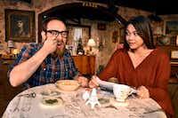 "Scott Zenreich (Elias) and Olivia de Guzman (Jenny) star in ""John"" at Undermain Theatre in Dallas.(Ben Torres/Special Contributor)"