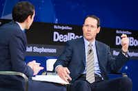 "AT&T CEO Randall Stephenson responds to a question last week during The New York Times Dealbook conference, where he said the company never offered to divest CNN to get approval of its Time Warner merger. ""Selling CNN makes no sense,"" he said. (Mike Cohen/The New York Times)"