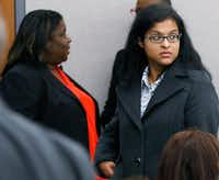 Sini Mathews (right) mother of Sherin Mathews, leaves Judge Cheryl Lee Shannon's courtroom after a hearing to determine custody of Sini and Wesley Mathews' surviving daughter on Monday at the Henry Wade Juvenile Justice Building in Dallas.(David Woo/Staff Photographer)
