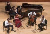 Pianist Simone Dinnerstein performed Monday at SMU's Caruth Auditorium with members of the Telegraph String Quartet. From left are Eric Chin, on violin; Pei-Ling Lin, viola; Jeremiah Shaw, cello; and Joseph Maile, violin. (Rex C Curry/Special Contributor)