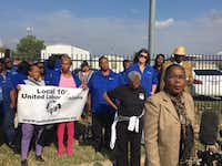 About a dozen Dallas County Schools bus drivers and their supporters attended a news conference Tuesday to air their concerns about the upcoming shutdown of the agency.(Eva-Marie Ayala/Staff)