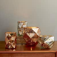 Faceted Mercury Candleholders and Vases, $12 to $24, West Elm(West Elm)