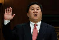 James Ho was sworn in Wednesday during a Senate Judiciary Committee hearing on his nomination to the 5th U.S. Circuit Court of Appeals.(Carolyn Kaster/The Associated Press)