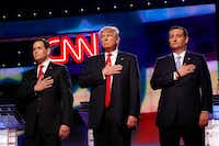 President Donald Trump, shown flanked by GOP primary election foes Marco Rubio (left) and Ted Cruz (right), has been outspoken in his criticism of CNN. (Carolyn Cole/TNS)