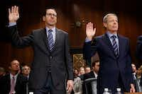 AT&T CEO Randall Stephenson, left, and Time Warner CEO Jeffrey Bewkes told Congress last year that the merger meets all of the antitrust requirements applied in other business consolidations. (Evan Vucci/The Associated Press)