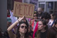 Demonstrators participated Nov. 12 in Los Angeles in the #MeToo Survivors March in response to several high-profile sexual harassment scandals. The protest was organized by Tarana Burke, who created the viral hashtag #MeToo after reports of alleged sexual abuse and sexual harassment by former movie mogul Harvey Weinstein. (David McNew/Getty Images)
