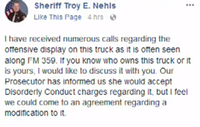 The sheriff's Facebook post has since been deleted.