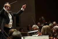 Guest conductor Jun Märkl leads the Dallas Symphony Orchestra at the Meyerson Symphony Center.(Jason Janik/Special Contributor)