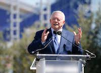 Dallas Cowboys owner and general manager Jerry Jones speaks to the crowd during the Ring of Honor Walk unveiling ceremony at The Star in Frisco on Monday, August 21, 2017. (Vernon Bryant/The Dallas Morning News)(Vernon Bryant/Staff Photographer)