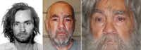 FILE --  From left: Charles Manson in 1969, 2009 and in an image released in April, 2012.  Manson, now 77, is serving a life term for persuading his followers to carry out the slayings of actress Sharon Tate and six others in 1969.(California State Prison via The New York Times)(CALIFORNIA DEPT OF CORRECTIONS/NYT)