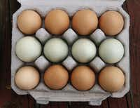 Eggs from the chickens at Bois d'Arc Meat Co. are sold at the Dallas Farmers Market.(Vernon Bryant/Staff Photographer)