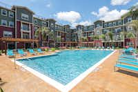 Fountain Residential's project at the University of Houston includes an oversized pool and outdoor gathering areas for students.(Fountain Residential)