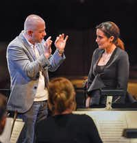 "Maestro Carlo Montanaro works with Lina Gonzalez-Granados during the Dallas Opera's Hart Institute for Women Conductors.(The Dallas Opera/<p><span style=""font-size: 1em; background-color: transparent;"">Karen Almond</span></p>)"