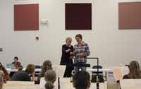 Marin Alsop, music director of the Baltimore Symphony, works with Monika Wolinska at the Hart Institute for Women Conductors.(The Dallas Opera)