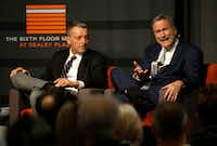 "Larry Sabato (right), political analyst, spoke alongside journalist Philip Shenon during a panel discussion, ""What has the Government Been Hiding? 54 Years of Secrets & the Release of the JFK Records"" at the Sixth Floor Museum in Dallas on Saturday.(Rose Baca/Staff Photographer)"