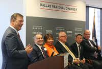 Dallas Mayor Mike Rawlings makes his remarks at a business-sponsored panel to get bipartisan support for legislation to legalize young immigrants known as Dreamers, held at the Dallas Regional Chamber in downtown Dallas on Nov. 21, 2017.(Louis DeLuca/Staff Photographer)