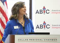 Attorney Hilda C. Galvan, Dallas Regional Chamber board chair, moderates a business-sponsored panel on bipartisan support for legislation to legalize young immigrants known as Dreamers, held at the Dallas Regional Chamber. (Louis DeLuca/Staff Photographer)