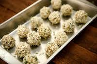 Eggplant no-meatballs are rolled in breadcrumbs.(Jae S. Lee/Staff Photographer)