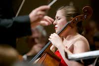Cello soloist Alisa Weilerstein performs the Prokofiev Sinfonia concertante with conductor Jaap van Zweden and the Dallas Symphony Orchestra, at the Meyerson Symphony Center Nov. 24.  (Brandon Wade/Special Contributor)