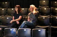 Theatre Britain co-founders Sue and Ian Birch watch the actors run through a scene at the Cox Playhouse in Plano. (Anja Schlein/Special Contributor)
