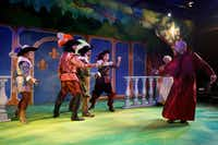 "<p>From left: Shay McDonald plays D'Artagnan (in a panto, the hero's part is played by a woman), Michael Speck plays Athos, Bryan Brooks plays Porthos and Christopher Lew plays Aramis in <span style=""font-size: 1em;"">The Three Musketeers</span>. They  take on the villain, Cardinal Richelieu (far right), played by Brandon Whitlock.</p>(Anja Schlein/Special Contributor)"