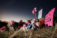The growing memorial where the body of Sherin Mathews, 3, was found in a culvert near 703 S. Bowser Rd. in Richardson.(Rose Baca/Staff Photographer)