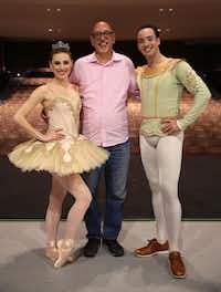 After the Chamberlain Performing Arts show on Nov. 25 at the Eisemann Center in Richardson, Manuel Mendoza (center) poses with New York City Ballet principal dancers Tiler Peck (left) and Tyler Angle.(Rose Baca/Staff Photographer)