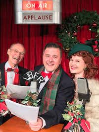 (from l-r) Gordon Fox as Clarence, David Fisher as George Bailey and Mary Margaret Pyeatt as Mary Bailey in 'It's a Wonderful Life: A Live Radio Play,' presented by One Thirty Productions at Bath House Cultural Center in Dallas Nov. 29-Dec. 16, 2017.(Marty Van Kleeck)