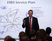 DART executive director Gary Thomas discusses the proposed Cotton  Belt rail line with residents during an August 2016 meeting in downtown Plano.(2016 File Photo)