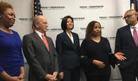 "<p><br>Texas Court of Criminal Appeals candidate Maria T. Jackson (second from right) describes how as a district judge in Houston she has ""saved a lot of lives"" by requiring drunken-driving probationers to ""breathe in the Breathalyzer at least three times a day."" Harris County Criminal District Judge Ramona Franklin (left) also filed Tuesday for a seat on the state Court of Criminal Appeals. Houston Democrats <a name=""firsthit"" id=""firsthit"" style=""""></a>Steven Kirkland (second from left), Kathy Cheng (center) and Ravi K. Sandill (right) filed for Texas Supreme Court seat<wbr style="""">s. (Robert T. Garrett/Staff)</p>"