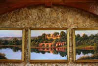 A painting of The Lake House by Kenny McKenna hangs in The Lodge dining room of businessman T. Boone Pickens' Mesa Vista Ranch.(Tom Fox/Staff Photographer)