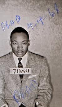 A Montgomery, Ala., Sheriff's Department booking photo of the Rev. Martin Luther King Jr. taken Feb 22, 1956, when he was arrested during the bus boycott. When he was assassinated 12 years later, he was still only 39 years old. (The Associated Press)