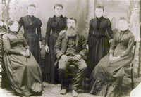 """The Ingalls Family in 1894: Seated, from left: Caroline, Charles and Mary Ingalls. Standing: Carrie Ingalls, Laura Ingalls Wilder and Grace Ingalls. From """" Prairie Fires: The American Dreams of Laura Ingalls Wilder.""""(Metropolitan/<p><span style=""""font-size: 1em; background-color: transparent;"""">Laura Ingalls Wilder Home & Museum, Mansfield, Mo</span></p>)"""