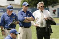 "<p><span style=""font-size: 1em; background-color: transparent;"">Leland (right) played overzealous booster Buddy Garrity in ""Friday Night Lights.""</span></p>(ERICH SCHLEGEL)"
