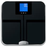 This scale by EatSmart tells not only your weight, but also which percentage of your weight is water and fat. (EatSmart)